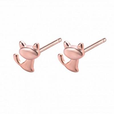 Animal Cat Silver Studs Earrings