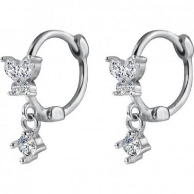 Butterfly  Gemstone Silver Hoop Earrings