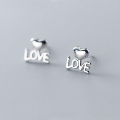 Anniversary Love Letters Heart Silver Studs Earrings