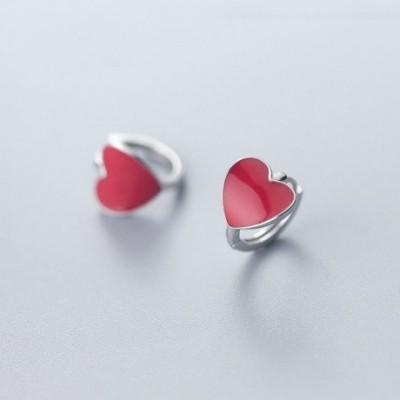 Anniversary Red Heart Love Silver Hoop Earrings