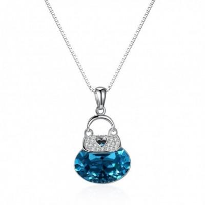 Blue Aumtrian Crystal Bag  Gemstone Silver Necklace