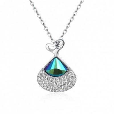 Blue Aumtrian Crystal Shell  Gemstone Silver Necklace