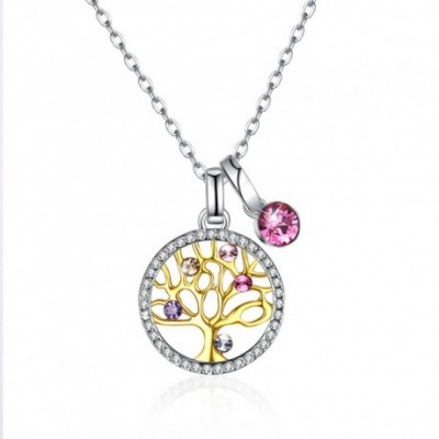 Aumtrian Crystal Round Life Tree  Gemstone Silver Necklace
