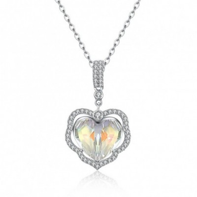 Aumtrian Crystal Heart  Gemstone Silver Necklace