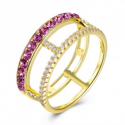 Aumtrian Crystal Line Silver Ring