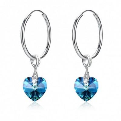 Aumtrian Crystal Heart Silver Dangling Earrings