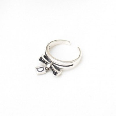 Black  Gemstone Bowknot Letter D Silver Adjustable Ring
