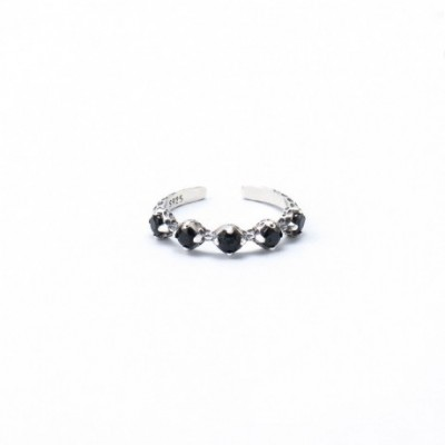 Black  Gemstone Silver Adjustable Ring