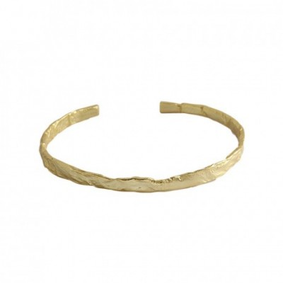 Concave Convex Round Silver Open Bangle