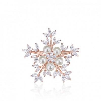 Pearl  Gemstone Snowflake Flower Silver Brooch