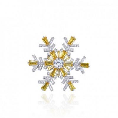 Gemstone Snowflake Silver Brooch