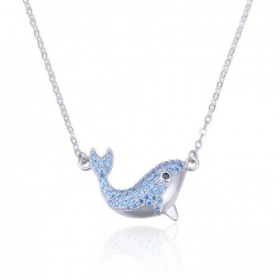 Animal Blue  Gemstone Dolphin Silver Necklace