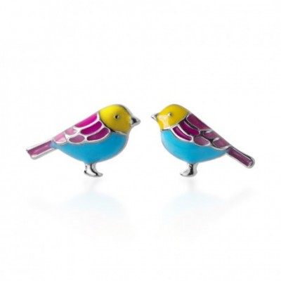 Animal colourful Bird Silver Studs Earrings