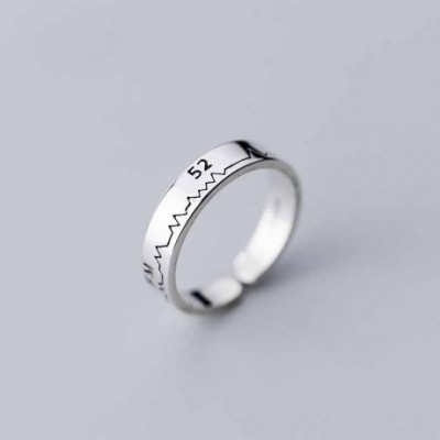 5rocardiogram Silver Adjustable Ring