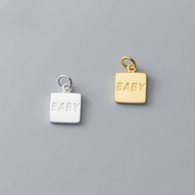 BABY Letters Square Tag Silver Charm