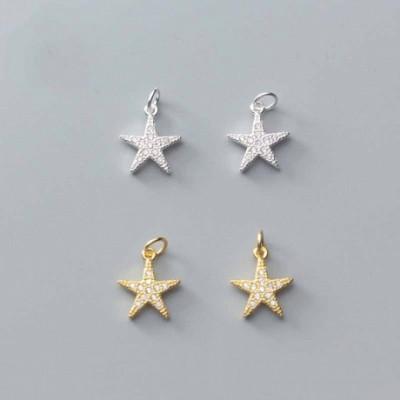Animal  Gemstone Starfish Silver Charm