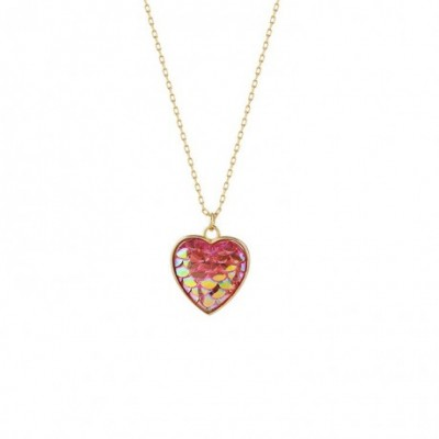 Anniversary Red Scale Heart Silver Necklace