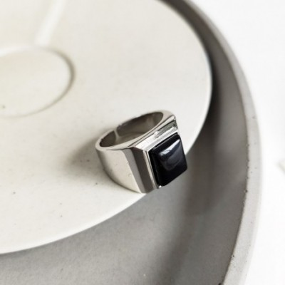 Black Square Agate Silver Adjustable Ring