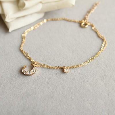 Gemstone Crescent Moon Silver Bracelet & Anklet