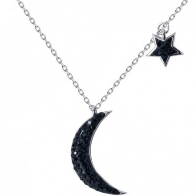 Black  Gemstone Crescent Moon Star Silver Necklace