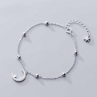 Casual Crescent Moon Star Beads Silver Bracelet & Anklet