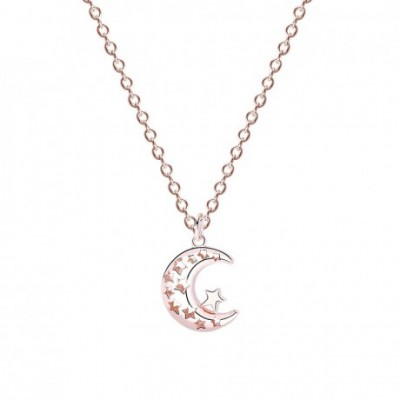 Anniversary Rose Gold Moon Star Silver Necklace