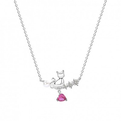 Animal Cat  Gemstone Pink Heart Silver Necklace