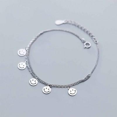 Smile Face Tag Silver Double Chain Bracelet & Anklet