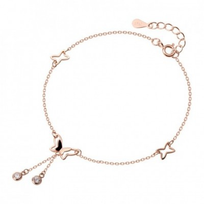 Hollow Butterfly  Gemstone Silver Anklet