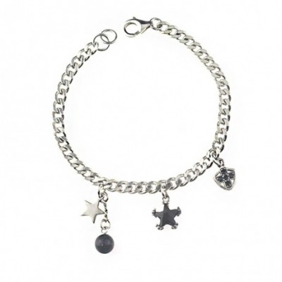 Black Agate Round Star Cross Silver Bracelet