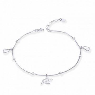 Arrow Pierces Heart Silver Anklet