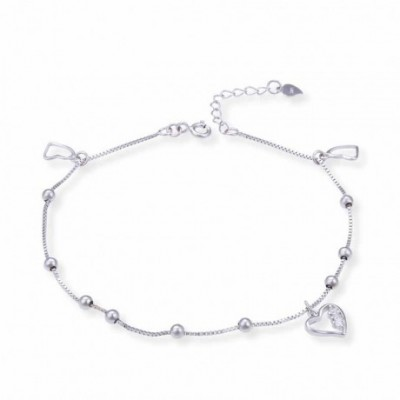 Heart Beads  Gemstone Silver Anklet