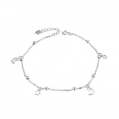 Hollow Crescent Moon Stars Silver Anklet