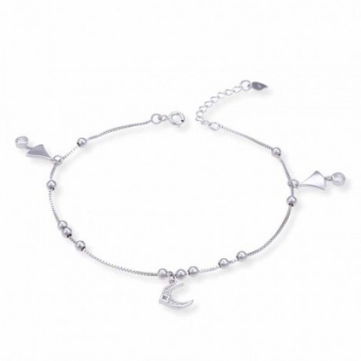 Gemstone Crescent Moon Bell Beads Silver Anklet