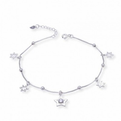 Hollow  Gemstone Hexagonal Star Beads Silver Anklet
