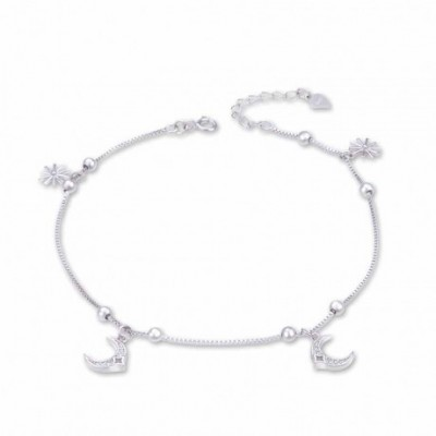 Gemstone Crescent Moon Sun Beads Silver Anklet