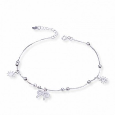 Gemstone Bowknot Sun Beads Silver Anklet