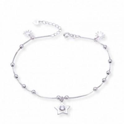 Gemstone Stars Sun Beads Silver Anklet