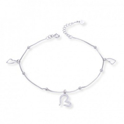 Gemstone Opening Heart Silver Anklet