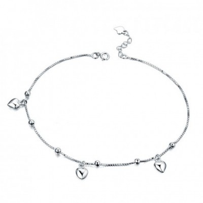 Hearts Beads Silver Anklet