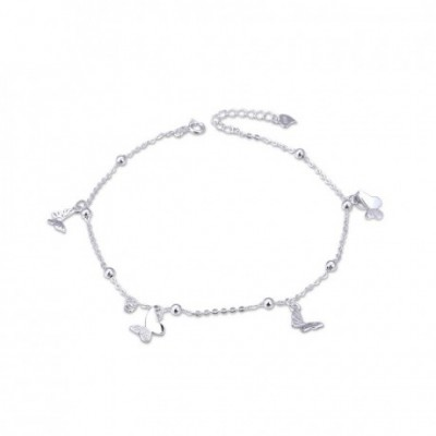 Gemstone Flying Butterfly Silver Anklet