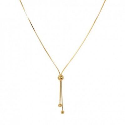 Adjustable Bead Tassel Silver Necklace