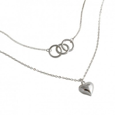 Anniversary Double Circles Heart Love Silver Necklace