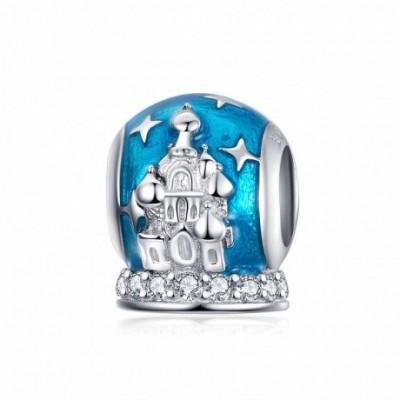 Blue  Gemstone Crystal Castle Silver Charm