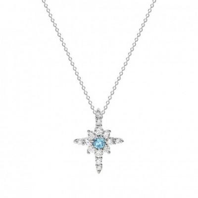 Blue  Gemstone Octagonal Star Silver Necklace
