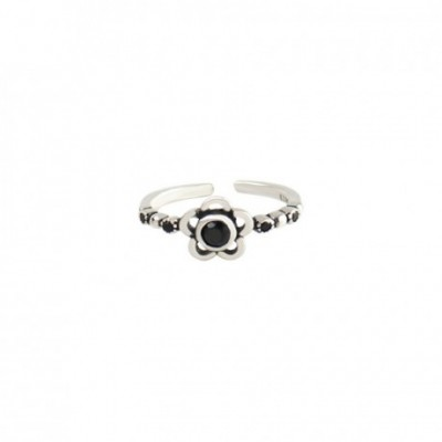 Black  Gemstone Plum Blossom Flower Silver Adjustable Ring