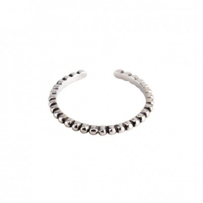 Beads Tiny Silver Adjustable Ring