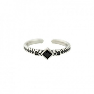 Black  Gemstone cultured diamond Silver Adjustable Ring