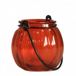 Recycled Pumpkin Candle Lantern - Amber