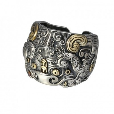 Chinese Kui Cattle Silver Adjustable Ring